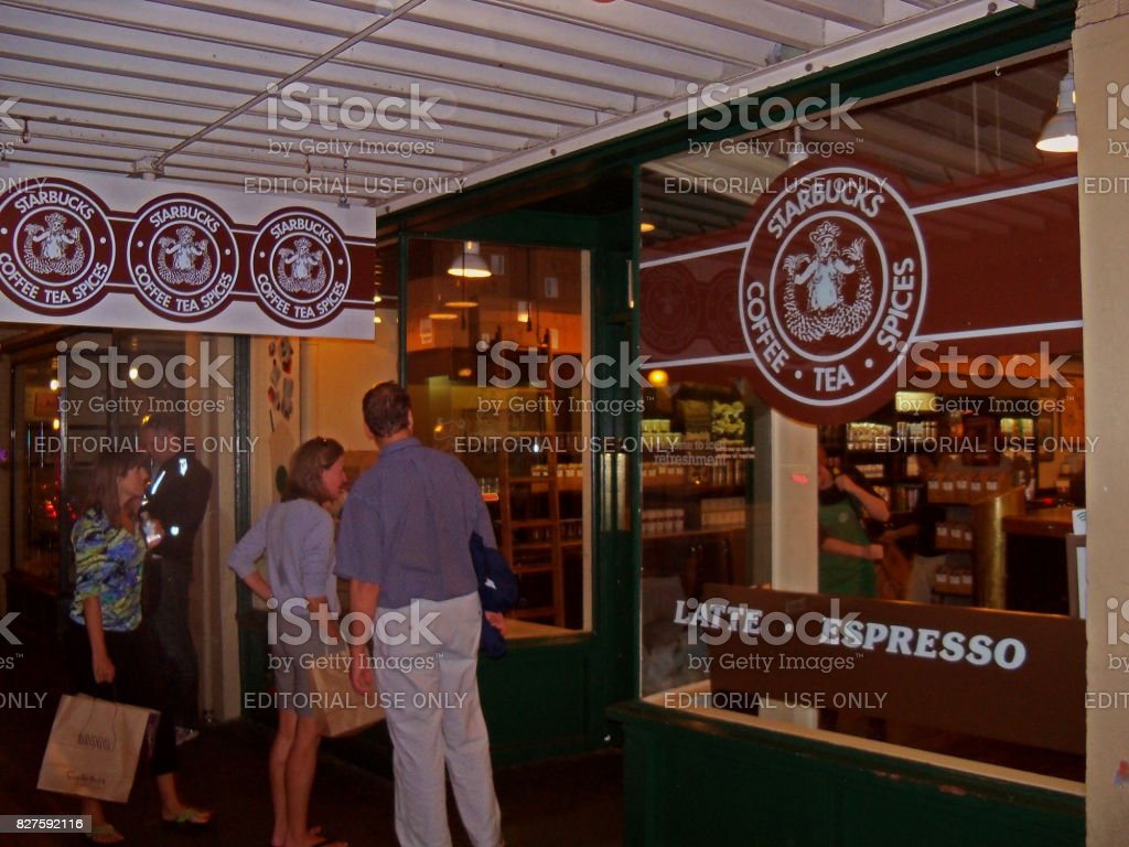 The First Starbucks Coffee Shop stock photo