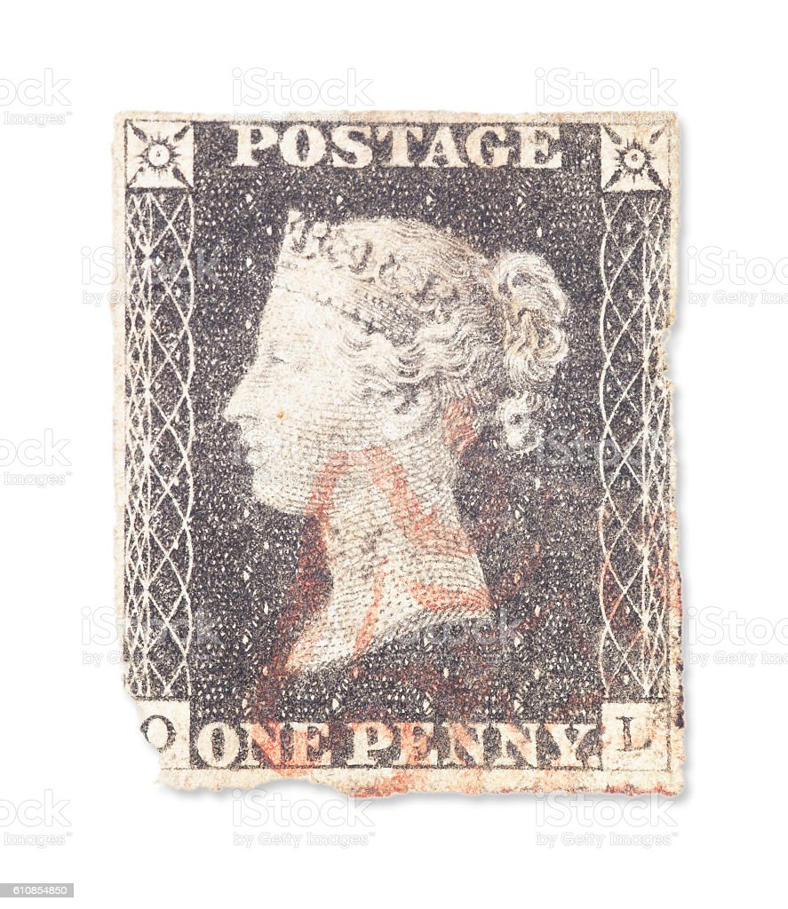 The First UK Stamp - Black Penny stock photo