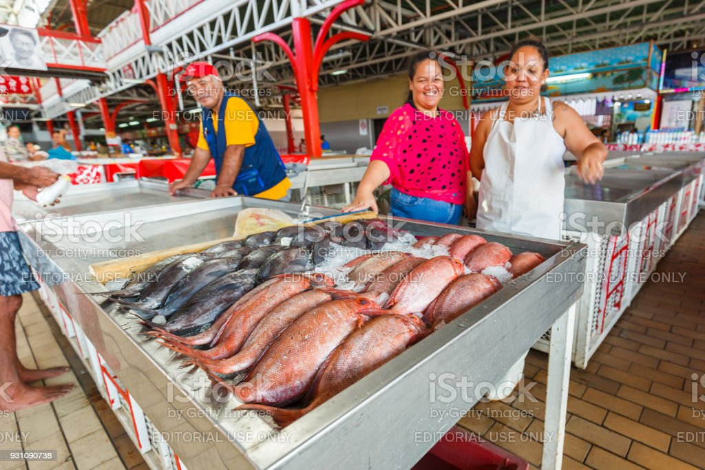 The fish market in the town of Papeete early in the morning in Tahiti  Papeete, French Polynesia. stock photo