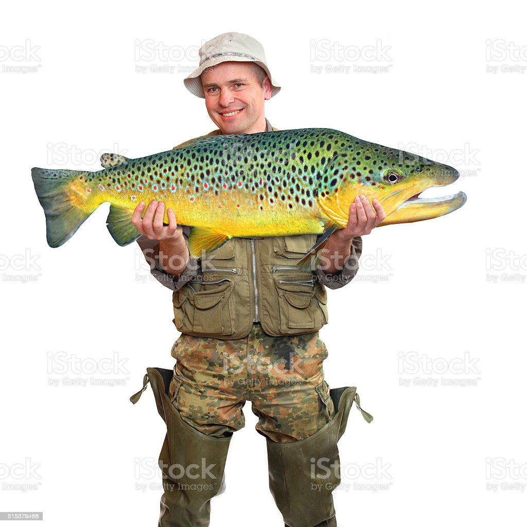 The fisherman with big fish. stock photo
