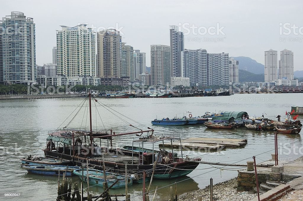The fishing boat in harbor royalty-free stock photo