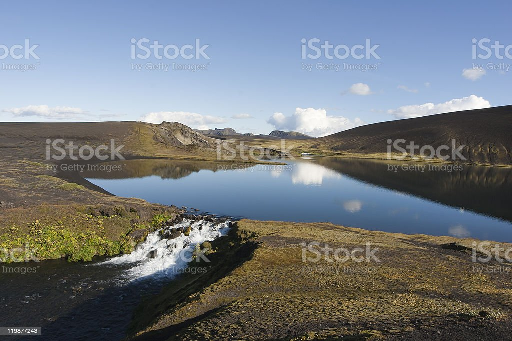 The fishing lakes Veidivötn in Iceland. Reflection and Beautiful stock photo