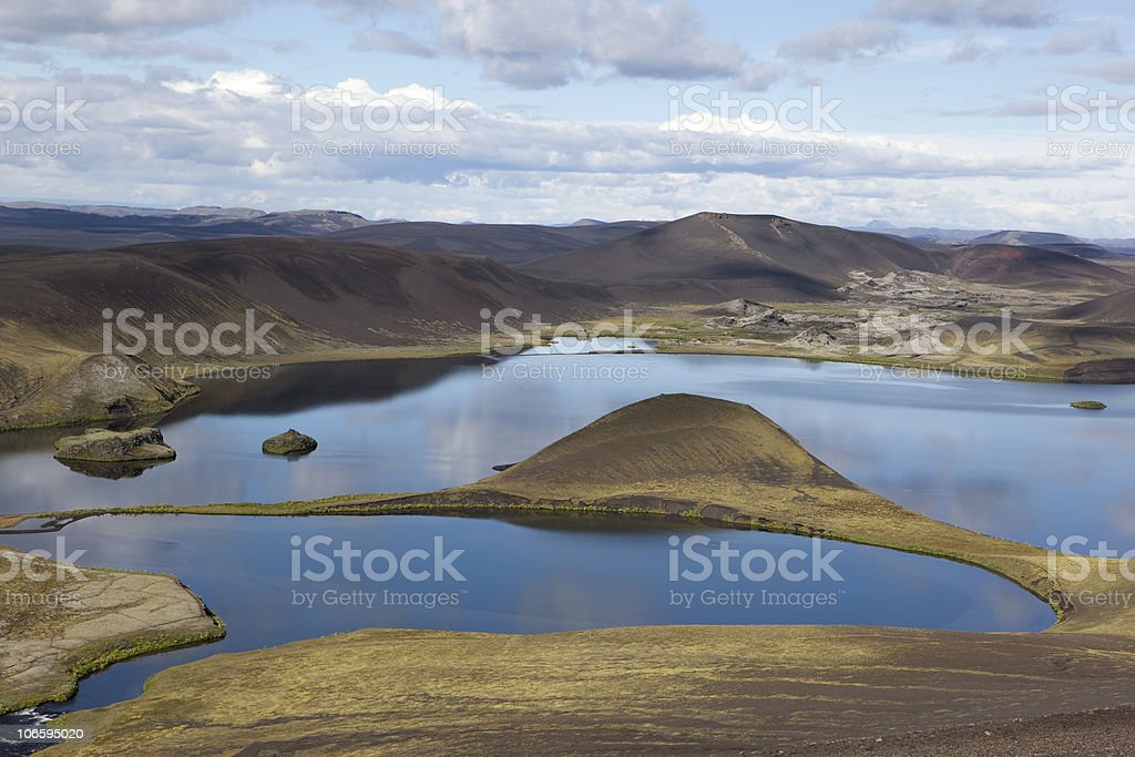 The fishing lakes Veidivötn in Iceland. Reflection and beuty stock photo