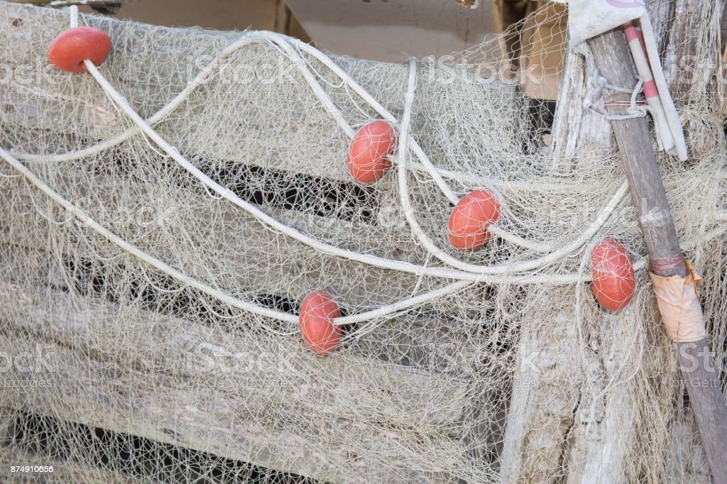 The fishing net is drying to start tomorrow morning stock photo