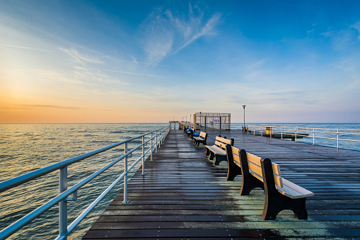 The fishing pier at sunrise in Ventnor City, New Jersey