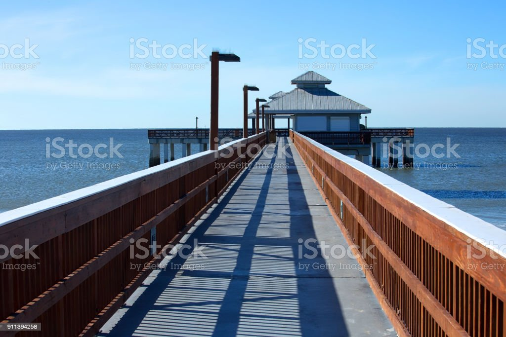 The fishing pier at Times Square in Fort Myers Beach stock photo