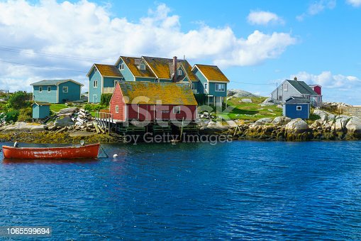 View of boats and houses, in the fishing village Peggys Cove, Nova Scotia, Canada