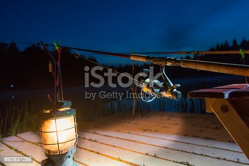 1094918172istockphoto The fishing-rod standing on a support thrown in water for fishing. 692937286