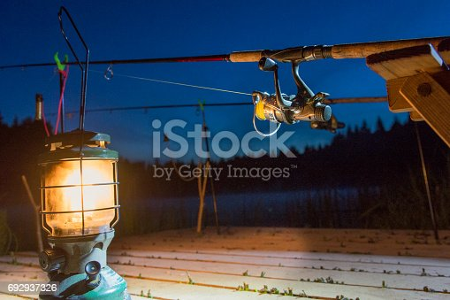 1094918172istockphoto The fishing-rod standing on a support thrown in water for fishing. 692937326