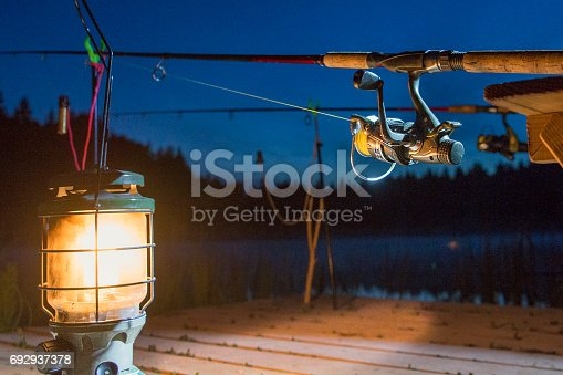 1094918172istockphoto The fishing-rod standing on a support thrown in water for fishing. 692937378