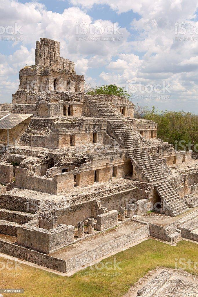 the five level pyramid at Edzna stock photo