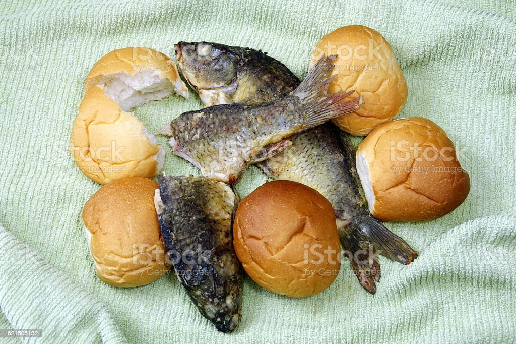 The five loaves, and the two fishes. Lizenzfreies stock-foto