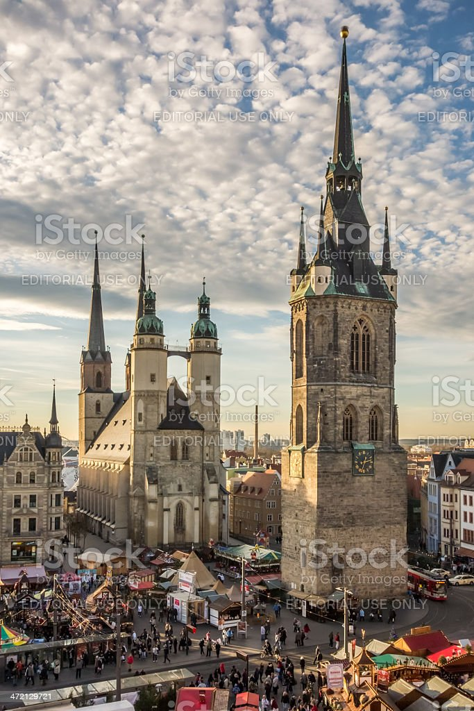 The Five Towers of Halle (Saale) stock photo