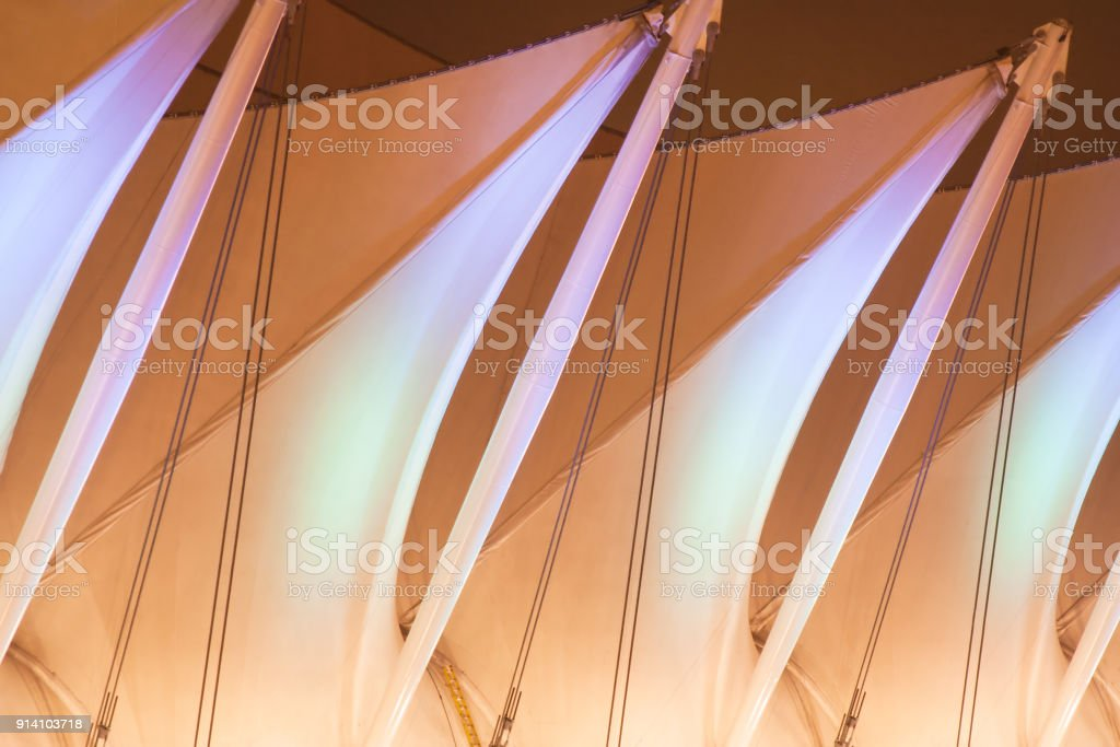 the five white sails atop Canada Place in Vancouver, BC stock photo