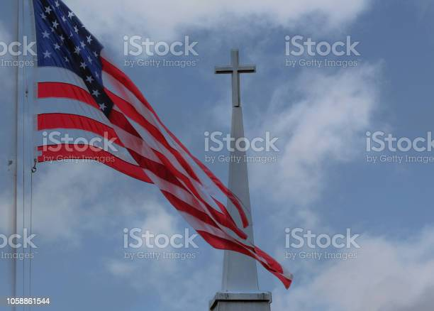 The Flag And The Cross Stock Photo - Download Image Now