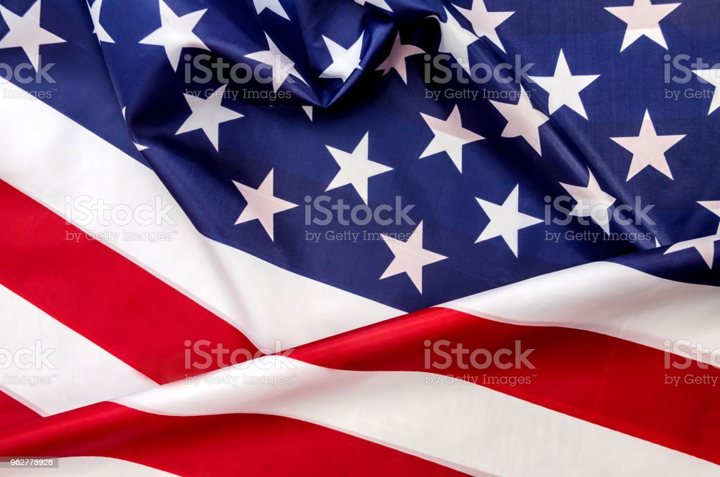 A bandeira da América é vermelha em branco e azul - Foto de stock de Azul royalty-free