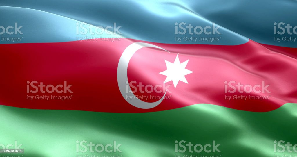The flag of Azerbaijan stock photo