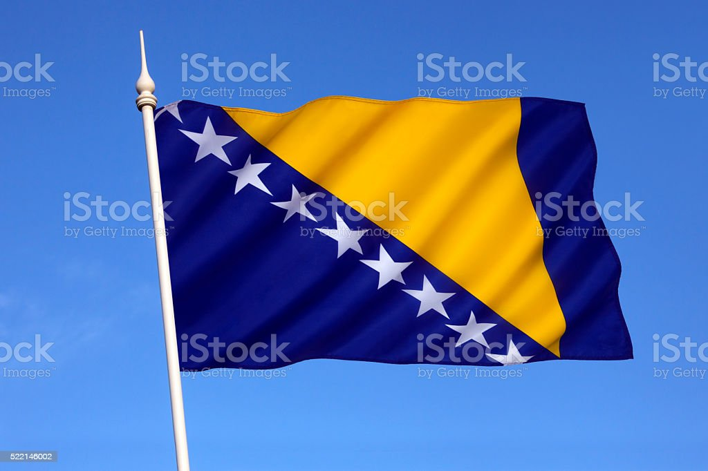 The flag of Bosnia and Herzegovina stock photo