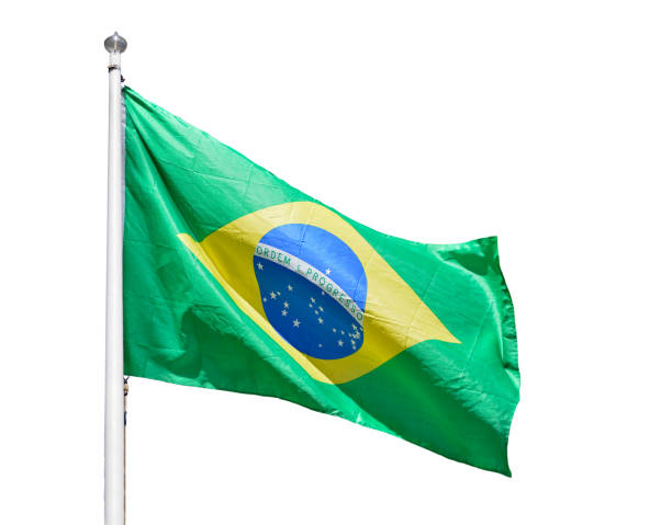 The flag of Brazil isolated stock photo
