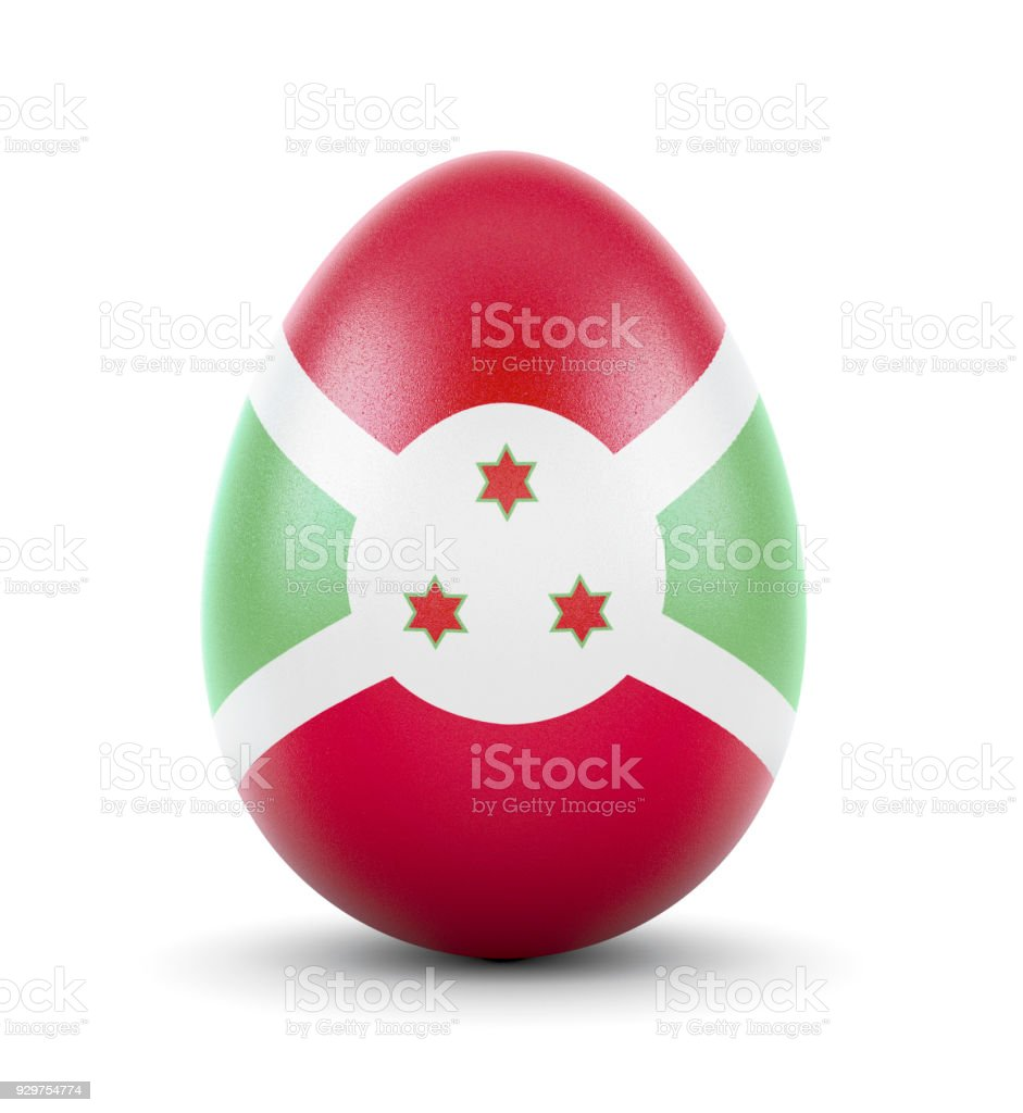 The flag of Burundi on a very realistic rendered egg.(series) stock photo