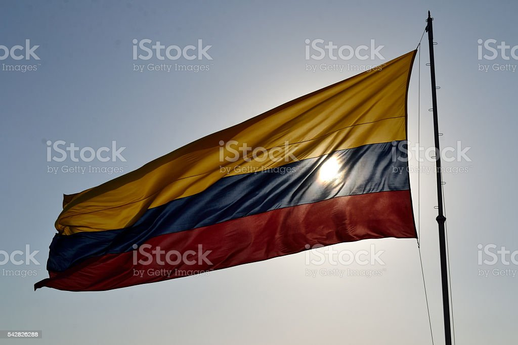 The flag of Colombia stock photo