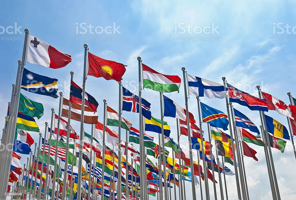 The flag of each country stock photo