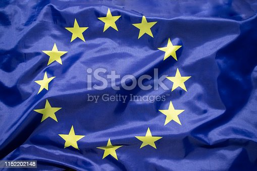 1125774238 istock photo The flag of Europe waving in the wind 1152202148
