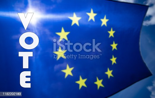 1125774238 istock photo The flag of Europe waving in the wind 1152202183