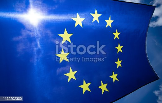 1125774238 istock photo The flag of Europe waving in the wind 1152202300