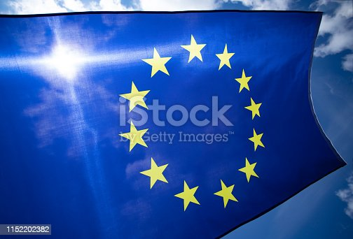 1125774238 istock photo The flag of Europe waving in the wind 1152202382