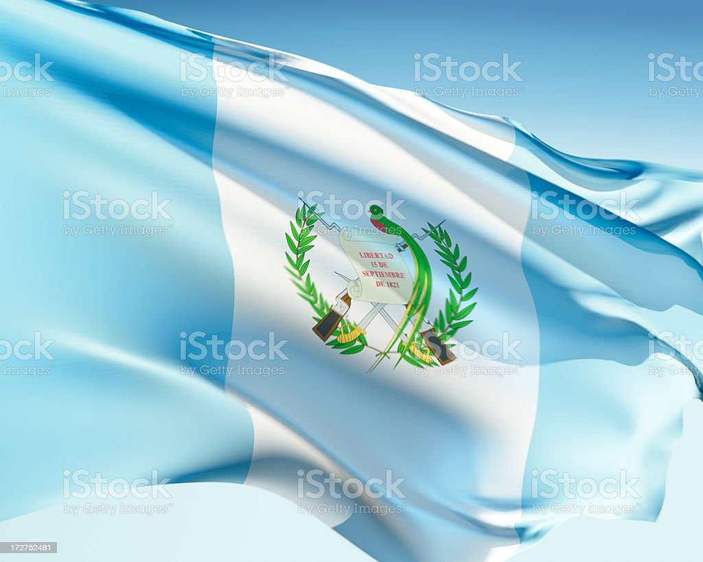 The Flag of Guatemala waving in the wind stock photo