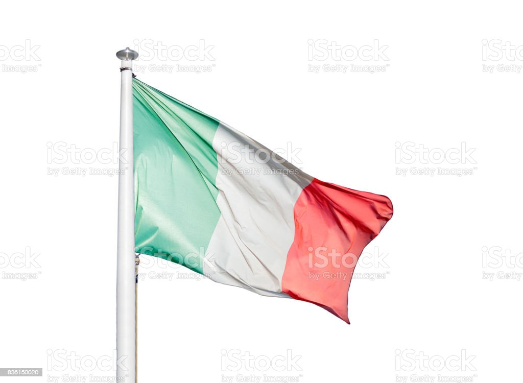 The flag of Italy isolated stock photo