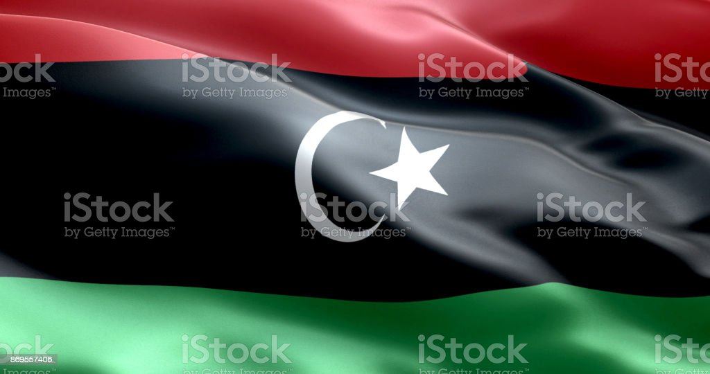 The flag of Libya stock photo