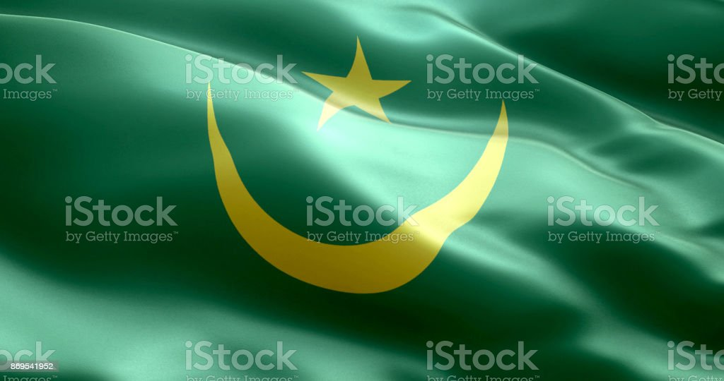The flag of Mauritania stock photo