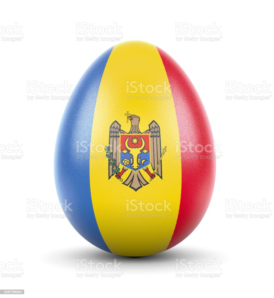 The flag of Moldova on a very realistic rendered egg.(series) stock photo