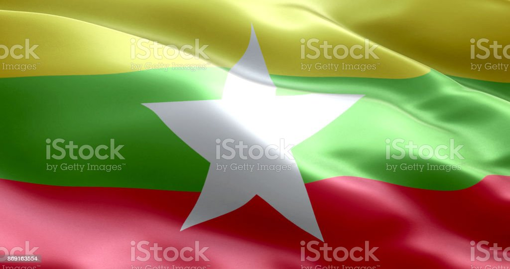 The flag of Myanmar stock photo