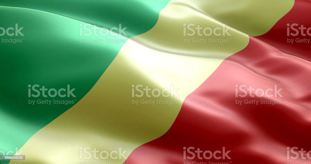 The flag of Republic of Congo stock photo