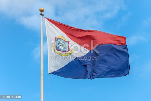 istock The flag of Sint Maarten. It is the national flag of the Dutch part of Saint Martin island 1249152445
