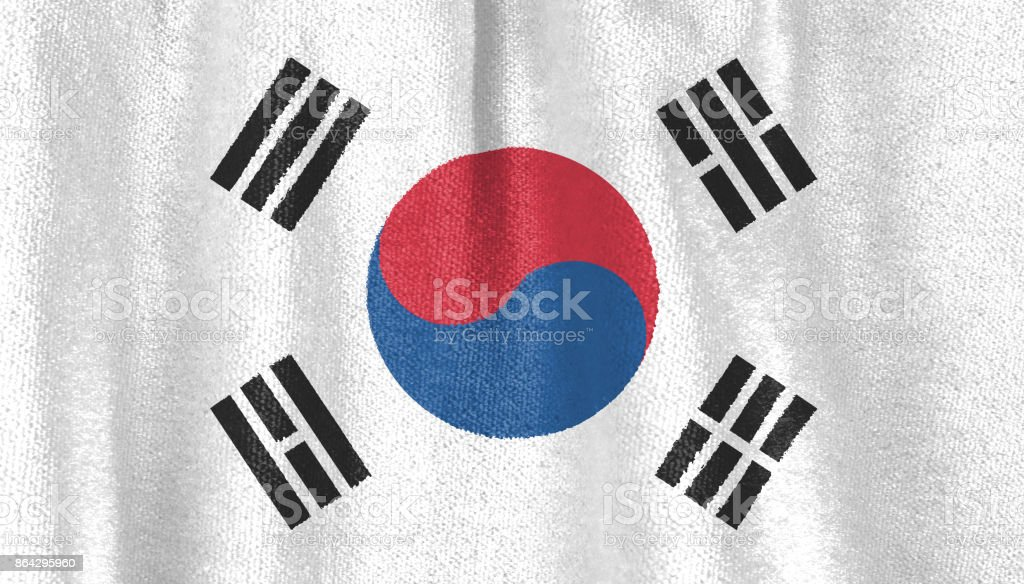 the flag of south Korea on fabric. royalty-free stock photo
