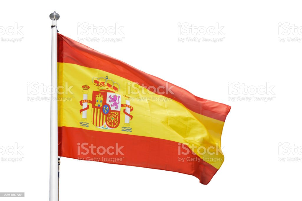 The flag of Spain isolated stock photo