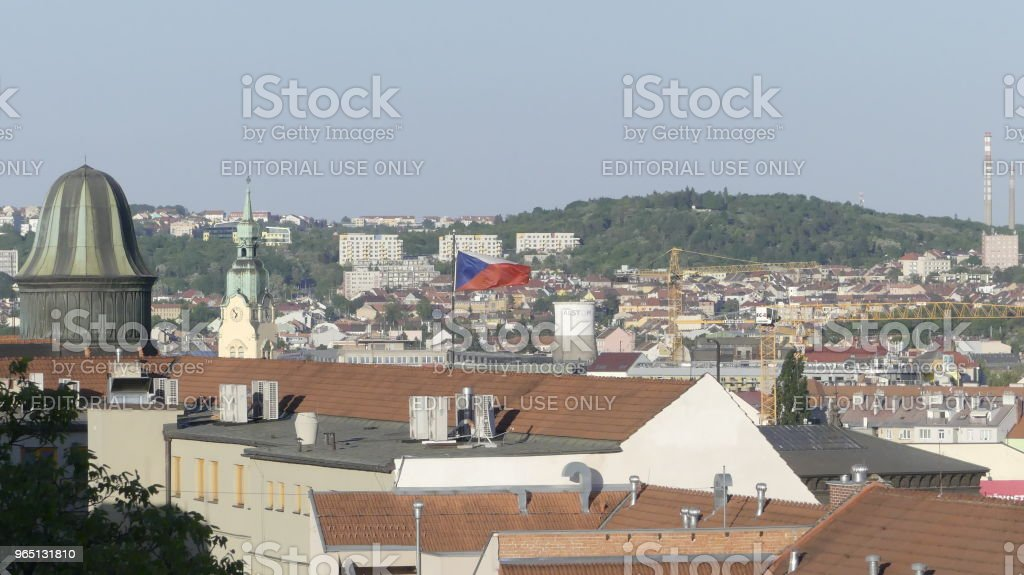 The flag of the Czech Republic is developing in the wind against royalty-free stock photo