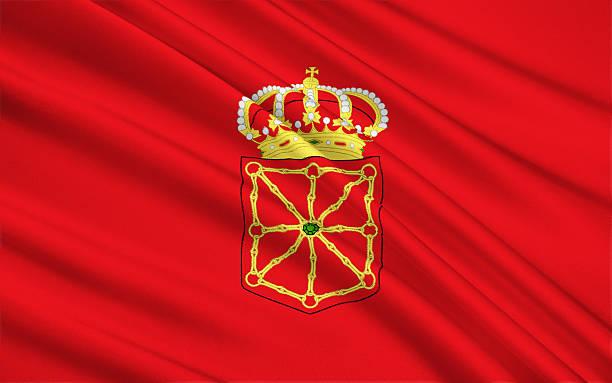 The flag of the Navarra, Spain stock photo