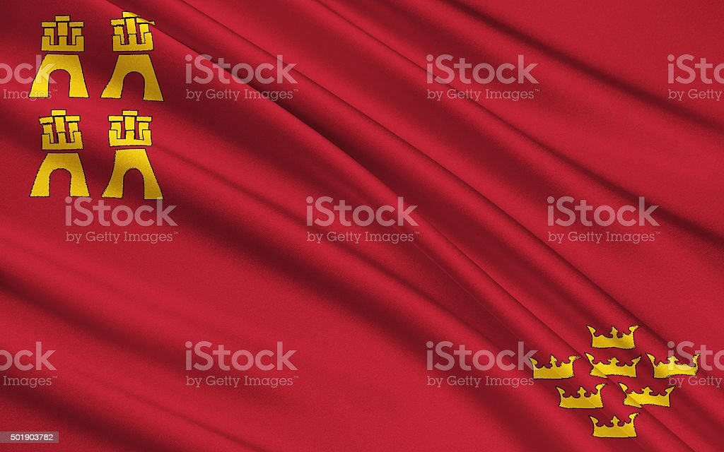 The flag of the Region Murcia, Spain stock photo