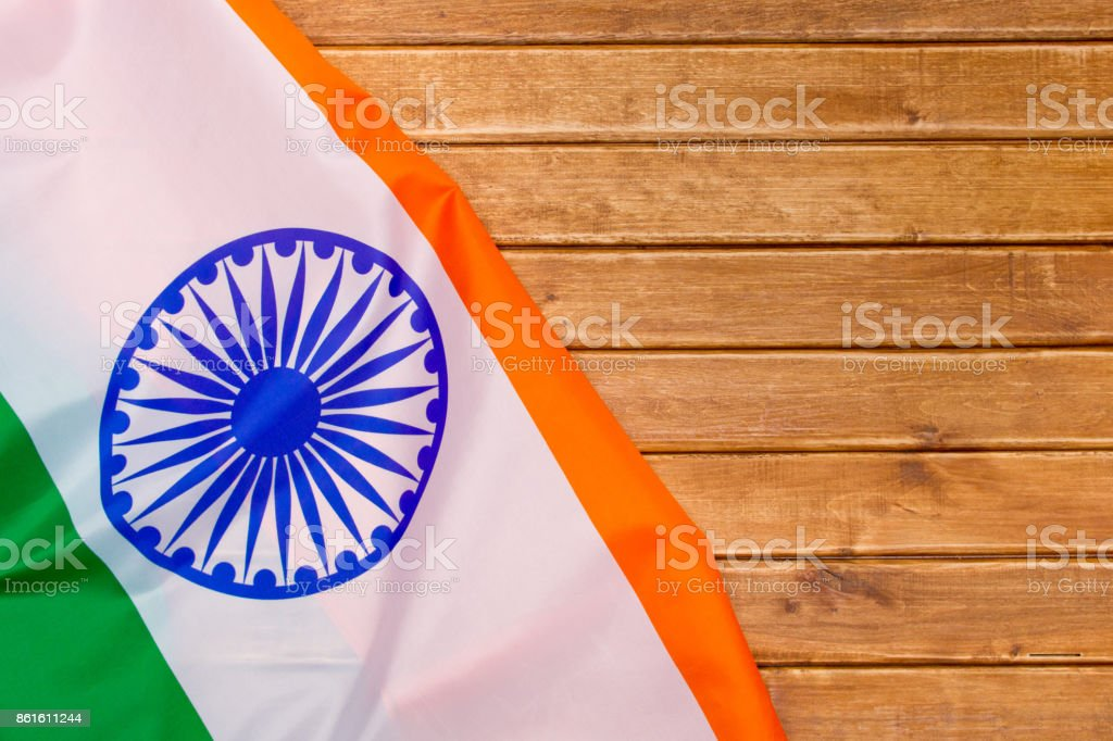The Flag Of The Republic Of India on wooden background. The place to advertise, template.View top. stock photo
