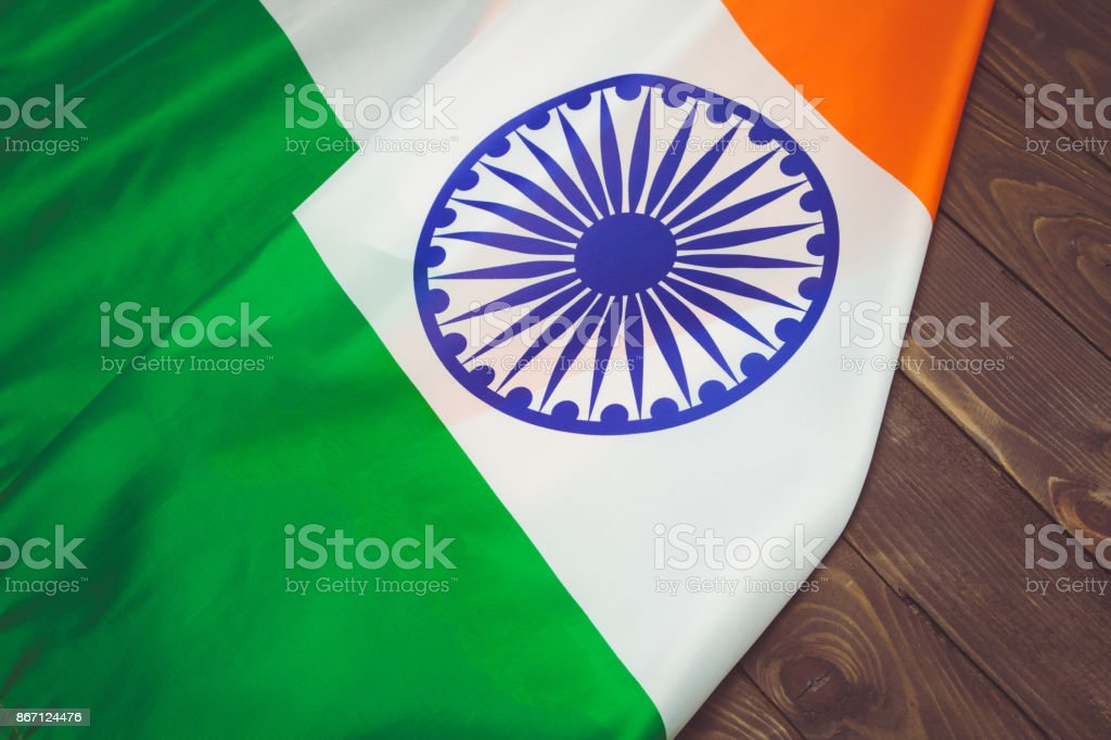 The Flag Of The Republic Of India . The place to advertise, template.The view from the top. stock photo