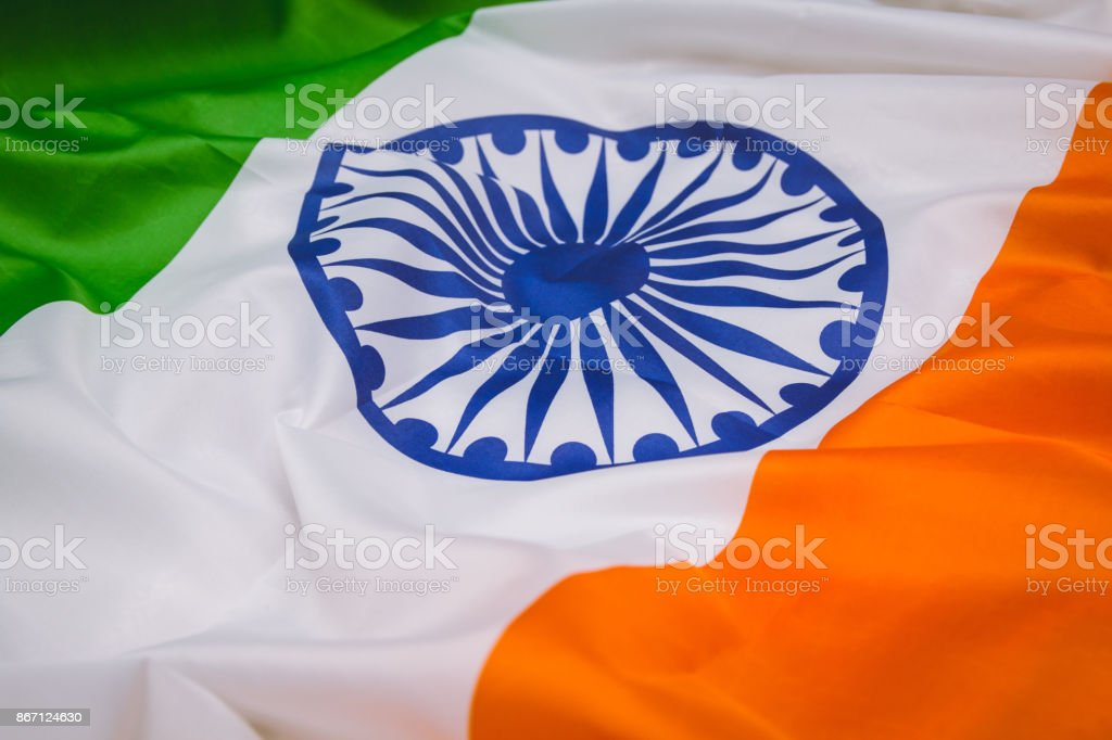 A bandeira da República da Índia. O local para anunciar, modelo. A vista do topo. - foto de acervo
