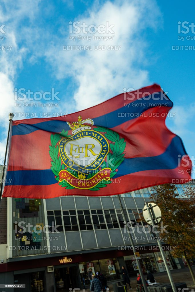 The flag of the Royal Engineers attached to an army vehicle at the 100 year Remembrance Day parade in Albion Square, Hanley stock photo