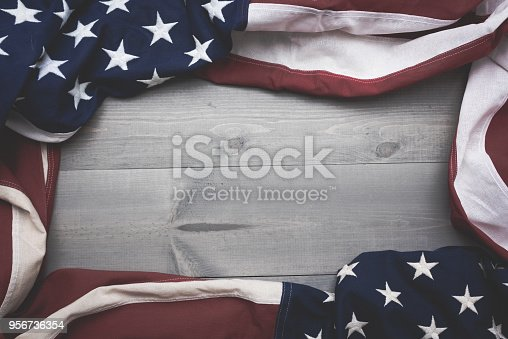 0d14ff45b930 istock The flag of the United Sates on a grey plank background with copy  space 956736354