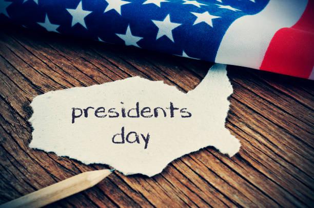 a bandeira dos eua e o dia de presidentes de texto, vignetted - presidents day - fotografias e filmes do acervo