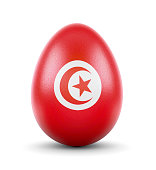 The flag of Tunisia on a very realistic rendered egg.(series)